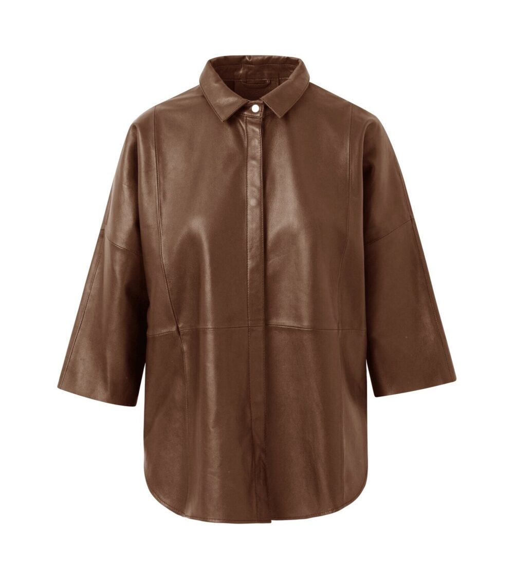 Depeche oversize skindskjorte tobacco 13626 1