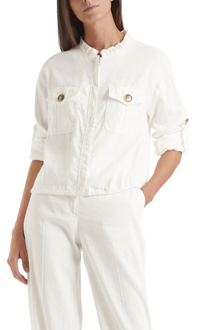 Marc Cain Collections jakke i linen off white NC3162W47 110 1