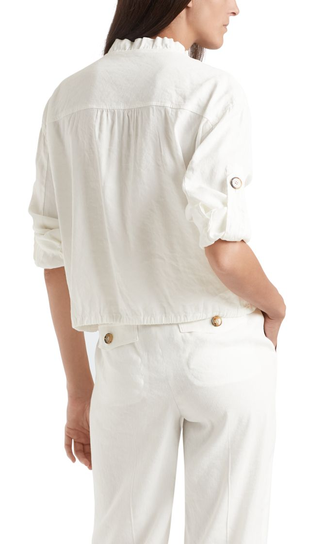 Marc Cain Collections jakke i linen off white NC3162W47 110 2