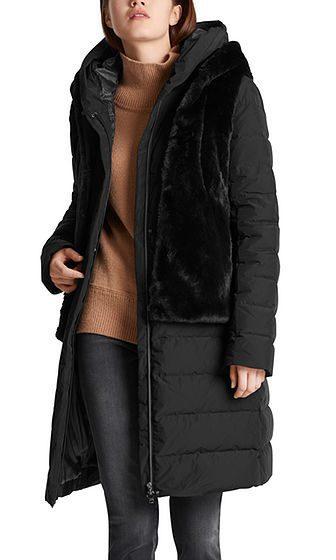 Marc Cain Collections dunfrakke fake fur sort 1