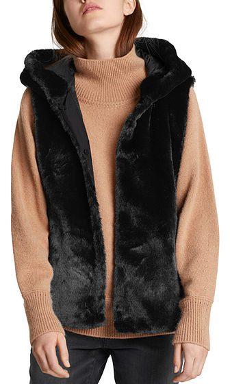 Marc Cain Collections dunfrakke fake fur sort 2