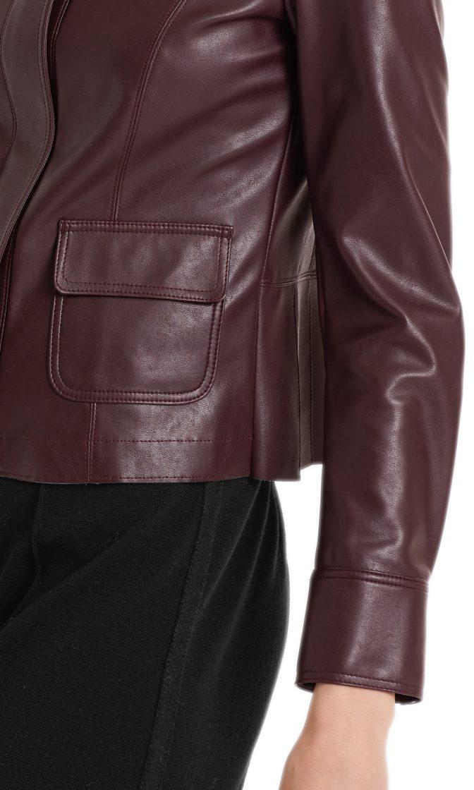 Marc Cain jakke i laederlook aubergine 6
