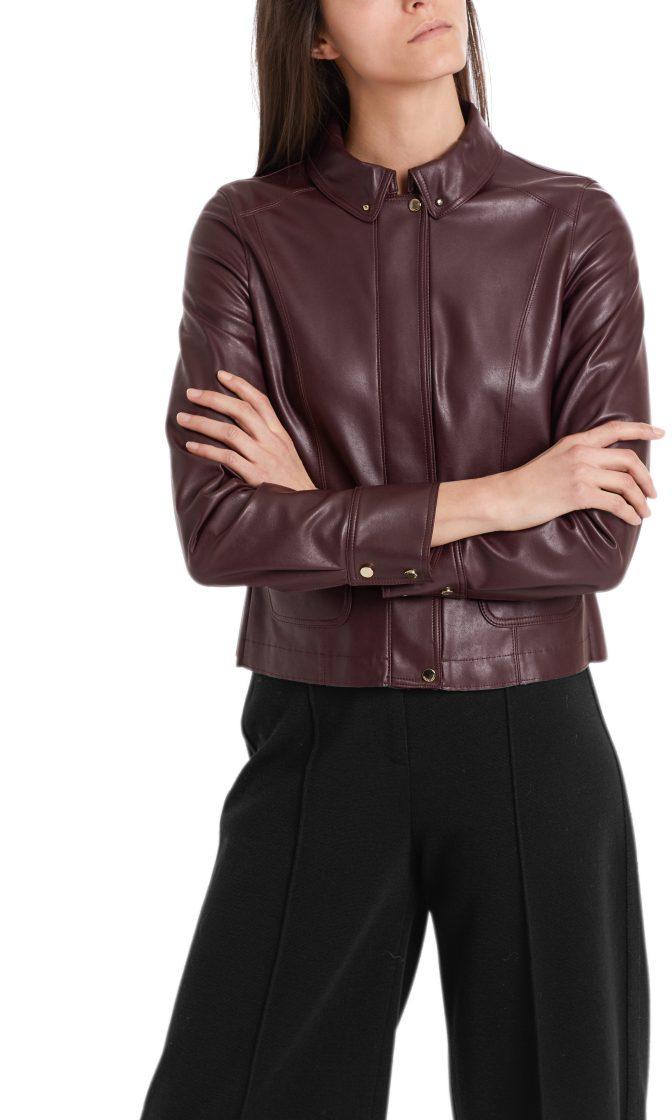 Marc Cain jakke i laederlook aubergine 7