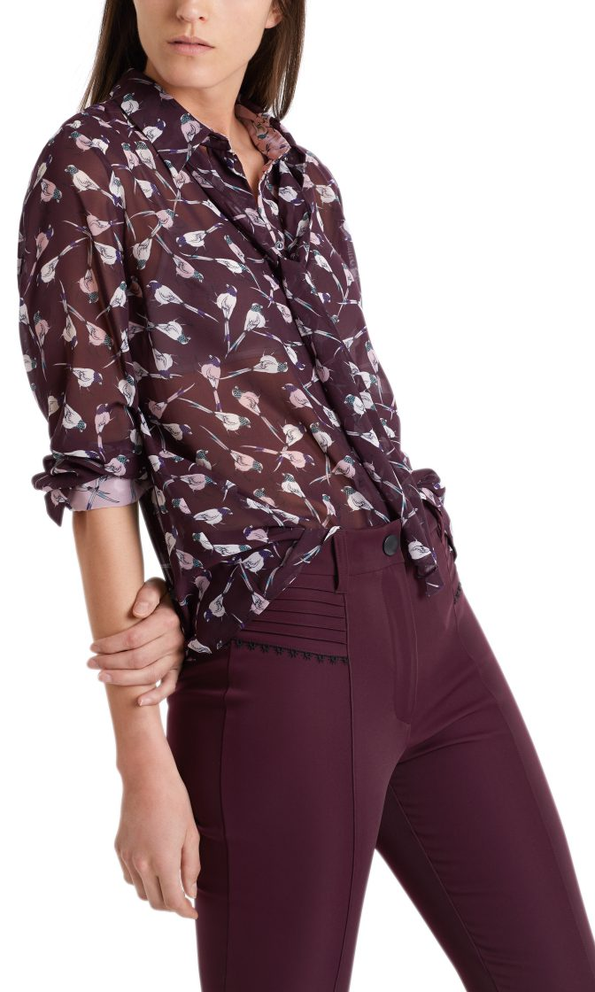 Marc Cain Collections Blouse with mini birds wine 3