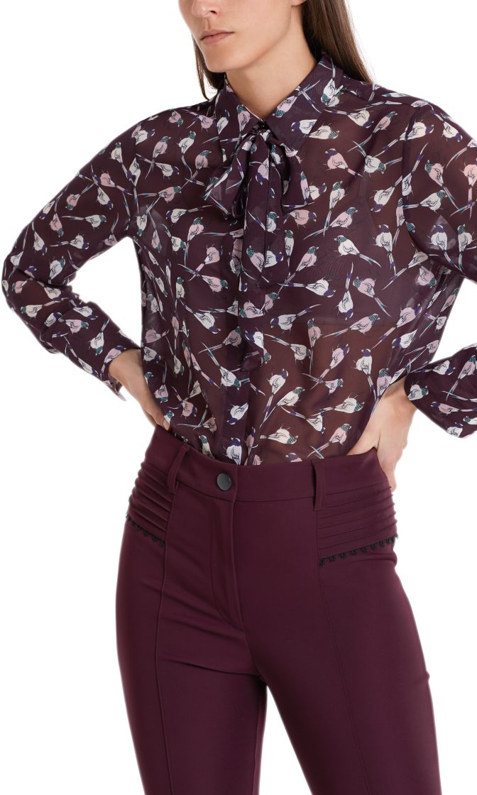 Marc Cain Collections Blouse with mini birds wine 4