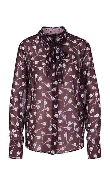 Marc Cain Collections Blouse with mini birds wine