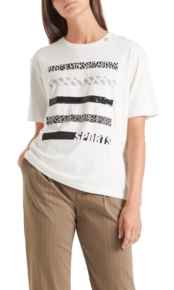 Marc Cain sports T shirt med pailetter raahvid og sort 1